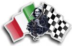 DEATH The Grim Reaper Design With Italy Italian il Tricolore Flag Motif Vinyl Car Sticker 130x80mm